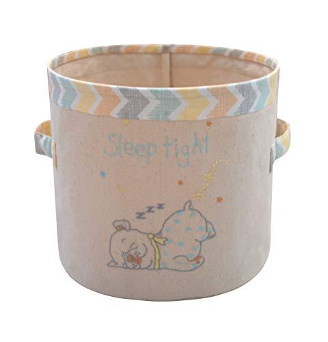 abracadabra Cotton Canvas Storage Basket/Bag for Infants, Babies & Kids, Durable, Lightweight & Multifunctional Organizer, Wipe Clean.Easy to Maintain Size 25 cm x 25 cm x 24 cm (Sleepy Friends) - S