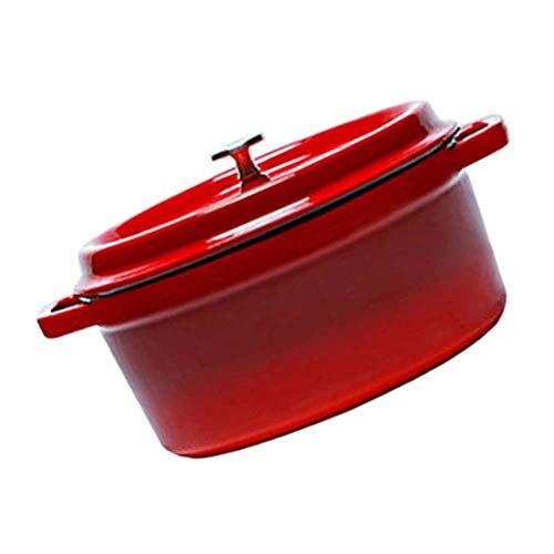 Profesional Seguro Ollas Soperas Moldeada utensilios de cocina de hierro Olla, olla con tapa, esmalte antiadherente de revestimiento, un buen sellado, ligero, for todos fuente de calor, sopa de olla 4