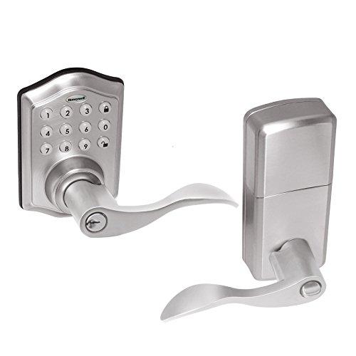 Honeywell Safes & Door Locks - 8734301 Electronic Entry Lever Door Lock, Satin Nickel
