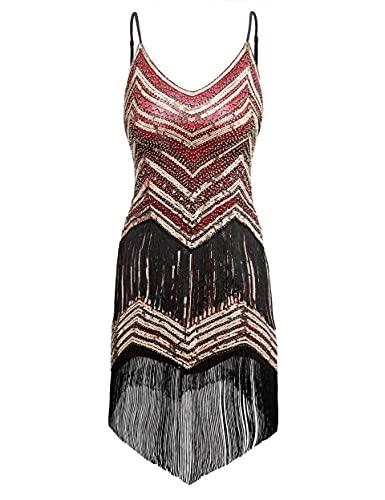 Coucoland Sukienka damska z cekinami w stylu lat 20. XX wieku w stylu lat 20. XX wieku, sukienka z cekinami, sukienka koktajlowa, impreza karnawałowa