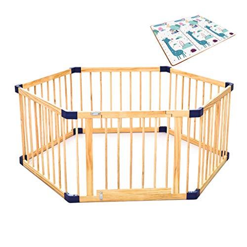 LHSUNTA - Parque para bebé con diseño de valla multiusos, para niños pequeños, para interior y exterior, fácil y rápido montaje, espacio cerrado, construcción robusta, madera, 200cmx180cmx60cm