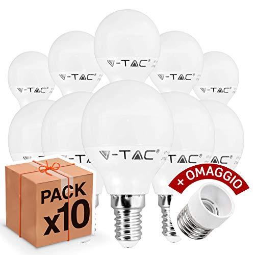 Lot de 10 ampoules LED V-Tac E14 4 W (320 lumens équivalant à 30 W), forme : mini-globe blanc chaud, naturel ou froid + 1 adaptateur offert