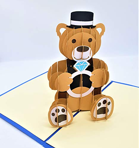 BC Worldwide Ltd 3D-Popup-Karte Teddybär Diamant Engagement Valentinstag Vorschlag Geschenk Feier Karte Glückwunschkarte leere Begrüßung