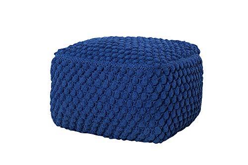 DuNord Design Zitkussen Donkerblauw Gebreid Sheffield 55 cm Gebreide Poef Tafel