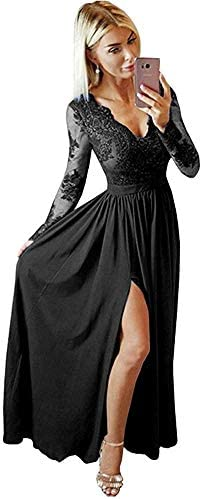 V Neck Lace Prom Dresses Long Sleeves Slit Chiffon Evening Formal Gowns for Women Black Size product image