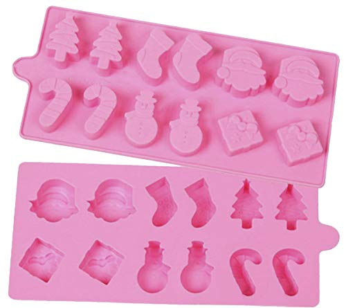 Mini Skater Set of 2 Psc 12-cavity Silicone Christmas Silicone Mold for Making Soap, Candle, Candy, Chocolate, and More (Holiday Mold Pink)