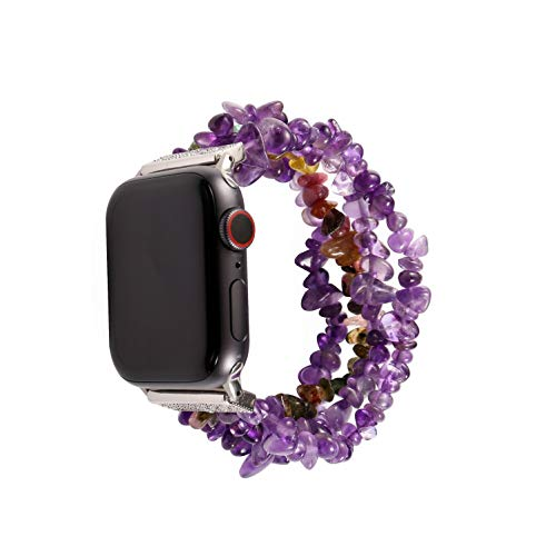 Juzzhou Compatible with Watch Band Apple iWatch 42 44 mm Series SE 1 2 3 4 5 6 Sport Edition Woman Lady Bracelet Beaded Faux Pearl Bling Stone Crystal Agate Jewels Wrist Guard Strap Wriststrap Wristband 42mm 44mm