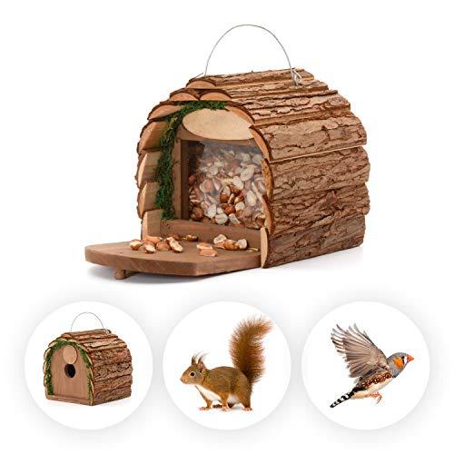 Ckb Ltd 2-in-1 Eichhörnchen-Futterstation / Vogel-Nisthaus zum Aufhängen, rustikal, natürlich, wetterfest, ideal für jede Größe, Garten, Outdoor, Baum oder Balkon