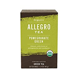 Allegro Tea, Organic Pomegranate Green Tea Bags, 20 ct