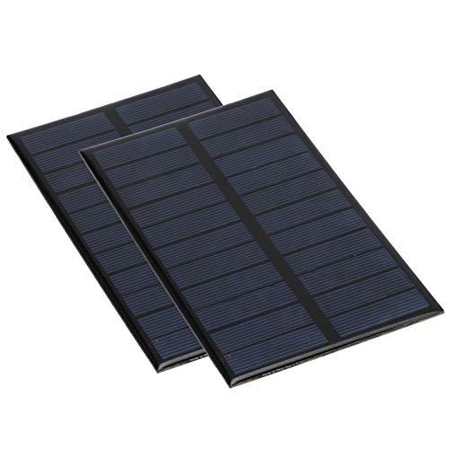 Omabeta 2Pcs Mini Panel Solar Cargador de batería de Bricolaje con Ahorro de energía Práctico Fácil de Llevar Buena confiabilidad 1.6W 5.5V para Cargador de batería Proyecto de Ciencia de Bricolaje