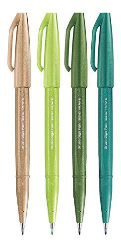 Pentel SES15C Brush Sign Pen - Juego de 4 pinceles de color verde