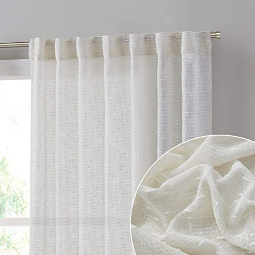 HLC.ME Emily Faux Linen Semi Sheer Light Filtering Transparent Back Tab Pocket Lightweight Window Curtains Drapery Panels for Bedroom, Dining Room & Living Room, 2 Panels (52 x 84 Inch, Ivory)