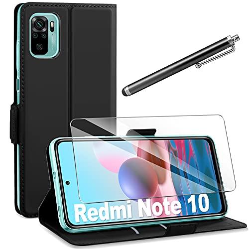 AROYI Funda Compatible con Redmi Note 10/10S con Protector Pantalla, Carcasa Cuero Suave de la PU con Ranuras para Tarjetas Flip Funda Tipo Libro Magnético Case - Negro