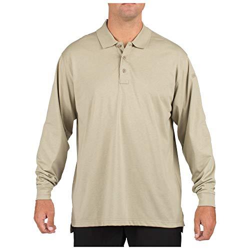 5.11 Tactical #72360 Tactical Polo Long Sleeve Tshirt (Silver Tan, Large)