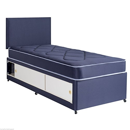 Home Furnishings UK Hf4you Dallas Quilted Slider Storage Divan Bed - 2FT 6' Small Single - No Headboard - Blue