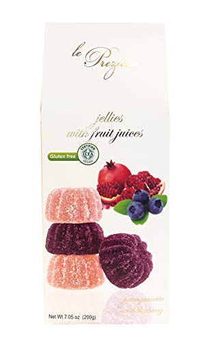 Le Preziose Italian Fruit Jelly Sweets with Fruit Juice 7.9oz (Pomegranate & Blueberry)