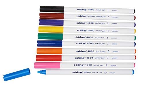 edding 4600 Textil-Stift - 10er Set - Standard Farben - Rundspitze 1 mm - Zum Bemalen von Textilien (wie z.B. T-Shirt, Kissen, Beutel) - Textilfarbe waschmaschinenfest bis 60°C
