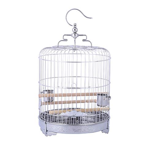 Gabbia per Uccelli Round Gabbia per Uccelli Portable in Acciaio Inox Birdcage per Pappagalli Parrocchieri Cockatiels Volo Bird Cage Easy Pulizia 9inches Leggero Traspirante