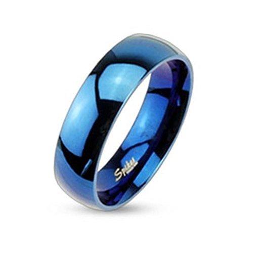Coolbodyart Acero Inoxidable Unisex Anillo de Banda Azul Brillante Pulido 6mm de Ancho - Tamaños Disponibles: 47 (15) - 69 (22) - Acero Inoxidable, Azul, 69 (22.0)