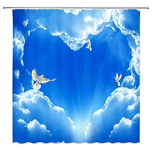 XCBN Cielo Azul, Estrellas, Luna, Cortina de Ducha, baño, tabique Impermeable y a Prueba de Moho, Cortina de separación Seca y húmeda A4 180x200cm