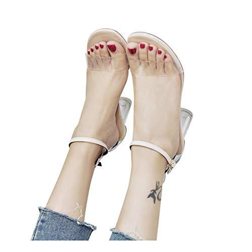 Damen Sandalen FORH Ankle High Heels Mode Ankle Casual Peep-Toe Party Offene Spitze Schuhe Sommer Elegant Transparente Sandalen Frauen Hohe Blockabsatz (35, Beige)