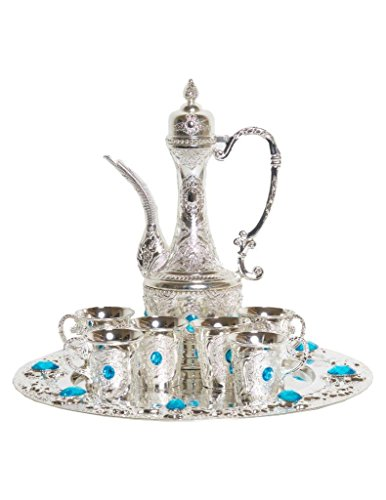Traditional Turkish Imperial Ottoman Style Tea Set for 6 including Tray and Teapot Silver Inset with Colorful Crystals (Light Blue)