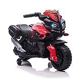 HOMCOM Moto Eléctrica para Niños de +18 Meses 6V con Faros Bocina 2 Ruedas de Equilibrio Velocidad Máx. de 3 km/h Motocicleta de Juguete 88,5x42,5x49 cm Rojo