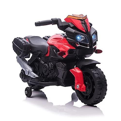 homcom Moto Elettrica per Bambini con Fari e Clacson, Batteria 6V velocità 3km/h, età 18-48 Mesi, 88.5x42.5x49cm, Rosso