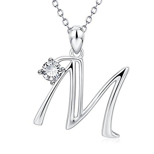Silver Mountain Letra Inicial del Alfabeto Collar Plata de Ley 925 Nombre Inicial Letra mayúscula Colgante Collar para Mujeres Chicas