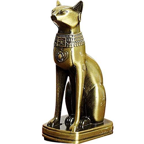QIBAJIU Skulptur Deko Statue Antike Skulpturen Metallstatue Ägyptische Katze Gott FigurLegierung Tierskulptur Home Office Desktop Dekoration Souvenir Geschenk