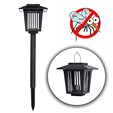 POPUD Solar Powered Bug Zapper Light, Kpest Solar Mosquito Killer Insect Killer Indoor Outdoor Fly Pest Trap Lamp Portable Garden Lawn Light For Residential, Commercial and Industrial Use