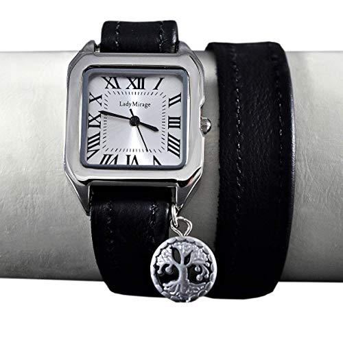 Wickelarmbanduhr mit Edelstein Hämatit - Vintage-Style - Quadrat - Analog - Silber - Leder - Geschenkidee - Armbanduhr - Lebensbaum - Geschenk für Sie - Handmade Schmuck