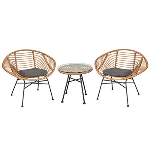 Table and Chair Rattan Chair Set Wicker Mat Glass Plate Small Coffee Table Three-piece Balcony Leisure Table and Chair Combination Creative Nordic Personality Design (Beige)