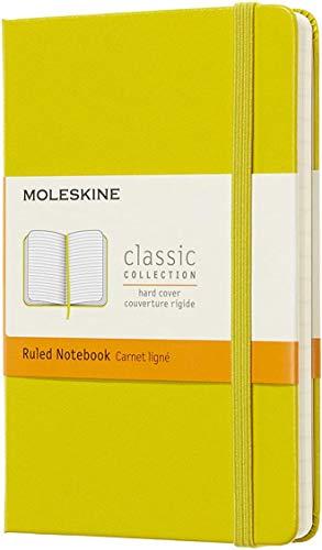 Moleskine Classic Notebook, Taccuino a Righe, Copertina Rigida e Chiusura ad Elastico, Formato Pocket 9 x 14 cm, Colore Giallo Dente di Leone, 192 Pagine