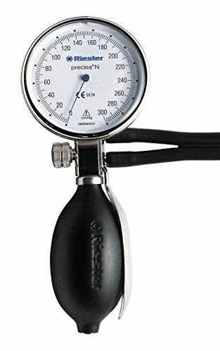 Riester 1363 Precisa N Aneroid-Blutdruckmessgerät, 2-Schlauch, Aluminium, Klettenmanschette, Durchmesser 64 mm