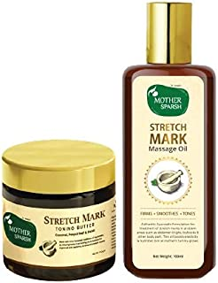 Mother Sparsh Stretch Mark Repair and Body Toning kit with 14 Herbs Stretch Oil (100ml) and Toning Butter with peepal Leaf...