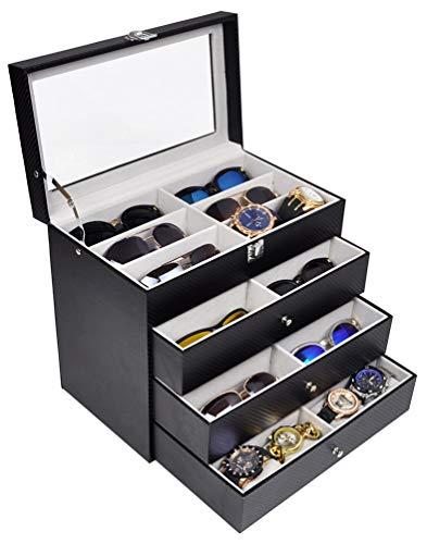 ADTL 4 Layer 24 Slots Eyeglass Sunglass Storage Box Display Glasses Textured Pattern Grey Inner