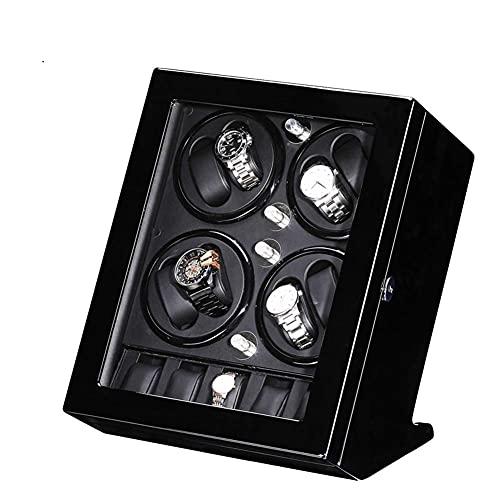 Caja de reloj enrollador para reloj, 8 + 5 rejillas de piel sintética, caja de almacenamiento con motor silencioso, adaptador de CA incluido festival