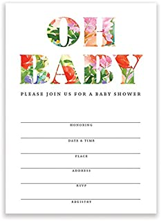 """Oh Baby Shower Invitations Tropical Flower Gender Neutral Fill-in-Style with Envelopes (Pack of 25) Large 5x7"""" Blank Invites Lovely Floral for Mom-to-Be Newborn Infant Child Excellent Value VI0091B"""
