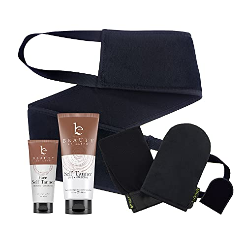 Self Tanner & Tanning Mitt Set - Organic Aloe Vera & Shea Butter for Bronze Natural Buildable Looking Fake Tan, Self Face Tanner for Buildable Tan - Self Tanner Back Applicator - Use With Self Tanner