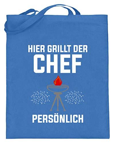 SPIRITSHIRTSHOP Hier Grillt Der Chef Persönlich - Grillen, Kochen, Backen, Grillchef, Grillmeister, Wurst - Jutebeutel (mit langen Henkeln) -38cm-42cm-Blau