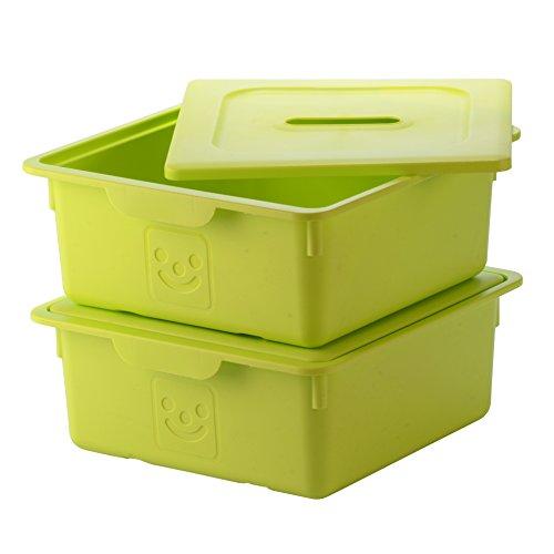 IRIS, 2er-Set Schublade-Box 'Smiley Kids Boxes', KDL-330, Kunststoff, mit Deckel, pistaziengrün, 33 x 31,5 x 13,5 cm
