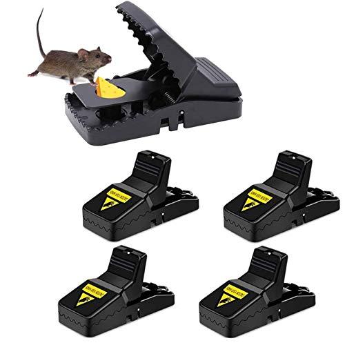 Homened Mausefalle, 4 Stück Profi Mäusefalle Schlagfalle Rattenfalle Effektive Wiederverwendbar Mäusefalle in Haus Garten Drinnen Draußen