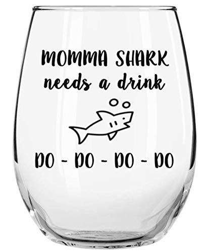Momma Shark Needs a Drink Do Do Do Do Funny Novelty Libbey Stemless Wine Glass with Sayings - Gift for Moms, Birthday, Christmas, Mother's Day Gifts
