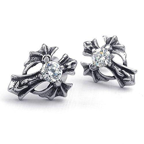 Mens Stainless Steel Cubic Zirconia CZ Cross Earrings,Celtic Gothic Devil Wings Stud Earrings