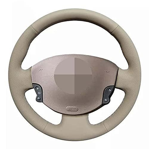 QOMFNG Funda para Volante de Coche DIY, Cosido a Mano, de Cuero Artificial Negro, para Volante, para Renault Megane 2 2003-2008 Kangoo 2008 Scenic 2 2003-2009