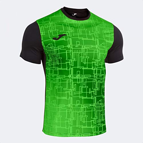 Camiseta Manga Corta Elite VIII Negro Verde flúor