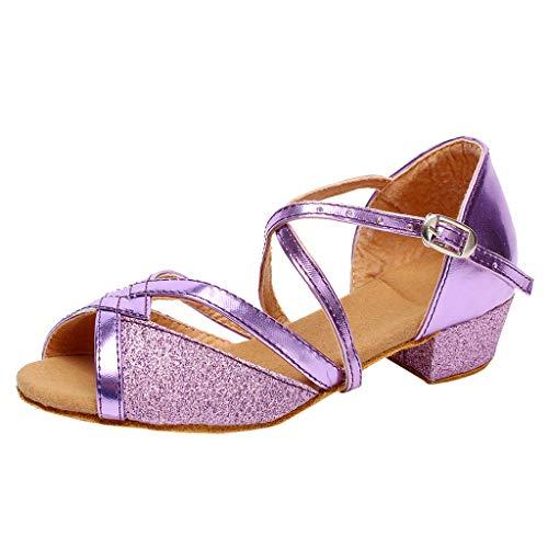 Amcool Mädchen Ballerinas Sandale Prinzessin Schuhe mit Absatz Kinder Tanzschuhe Pailletten Karneval Latin Schuhe (32, Lila)