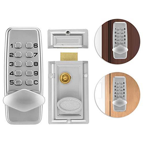 Digitaal deurslot met 10 toetsen, deurbeslag sluitvak met veiligheidsslot wachtwoord code lock, voor deurdikte tussen 10 – 60 mm, uitgerust met installatietoebehoren
