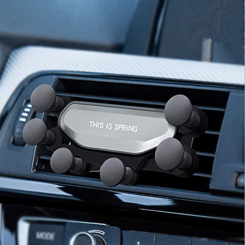 Teabelle Soporte para Telefono Movil de Salida del Aire de Coche Cierre Automático para Celular Protector de Choque Neumático (Plata)